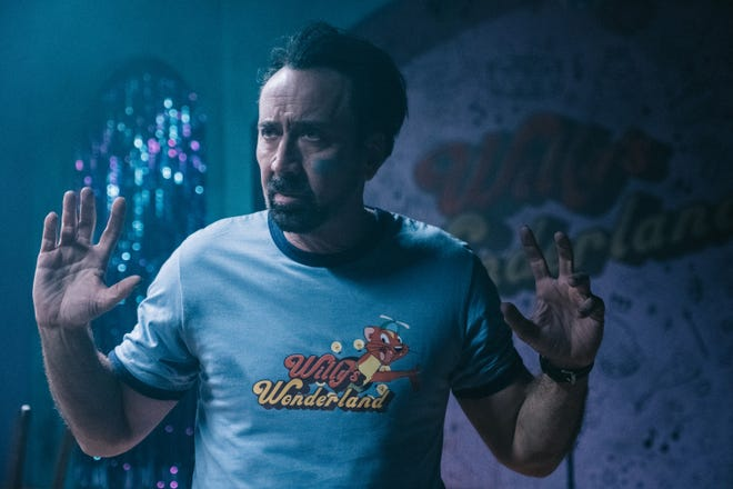 "Nicolas Cage plays a drifter who has to spend a night in a killer situation to pay off his mechanic's bills in ""Willy's Wonderland."""