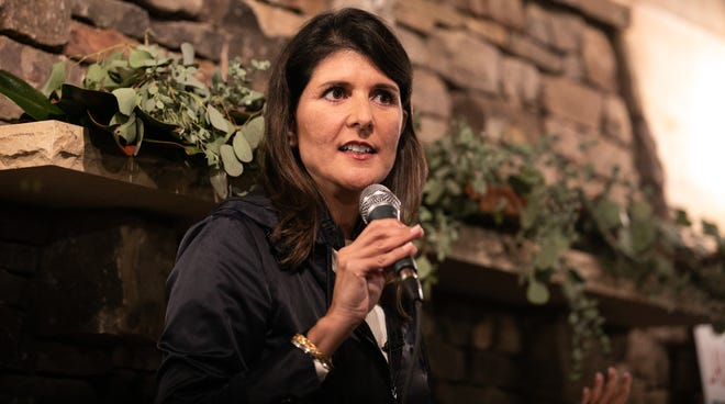 Former U.N. Ambassador Nikki Haley speaks in support of Georgia Republican Senate candidates David Perdue, R-Ga., and Kelly Loeffler, R-Ga., during a campaign rally on Dec. 20, 2020 in Cumming, Georgia.