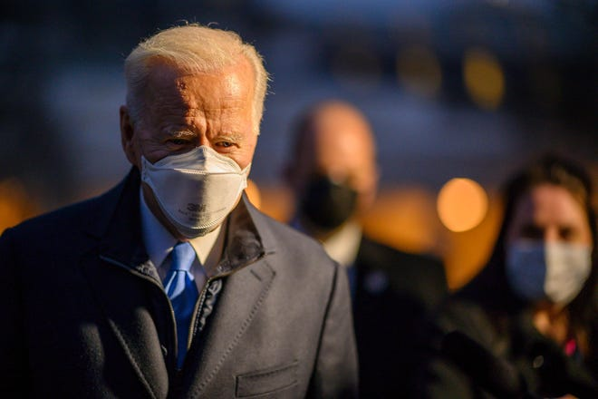 President Joe Biden leaves the White House to spend the weekend in Camp David, on February 12, 2021.