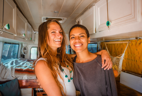 The couple Abigail (left) and Natalie Rodriguez travel the country living in their converted Mercedes-Benz Sprinter van and show off their adventures on Instagram @letsplayrideandseek.