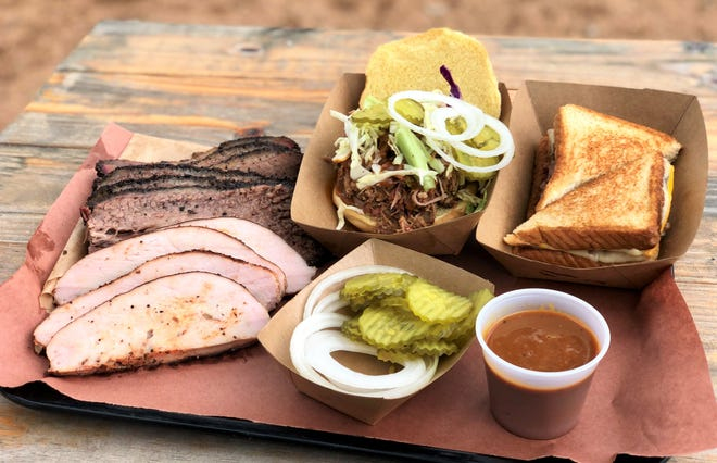 A tray of turkey, brisket and sandwiches at Moreno Barbecue in South Austin.