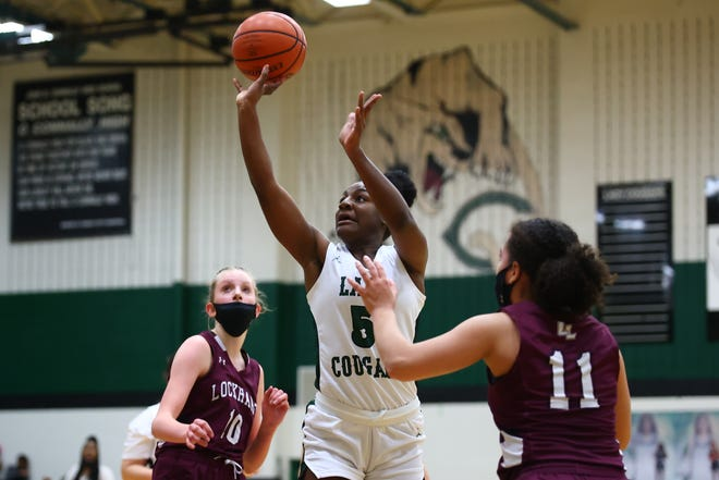 Lashiyah Fowler shoots in the lane for Connally in the first period of a Class 5A bidistrict playoff game against Lockhart Feb. 12 at Connally High School. Connally rolled to a 59-31 win over Lockhard to move on to the next round.
