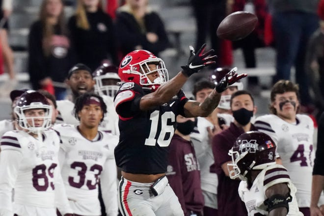 Georgia wide receiver Demetris Robertson (16) makes a catch during the second half of the team's game against Mississippi State, Saturday, Nov. 21, 2020, in Athens, Ga. (AP Photo/Brynn Anderson)