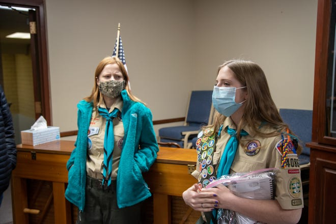 Ainsley Mason, left, and Hope Ennis, right, are two of the first females in the United States to receive the Eagle Scout rank.