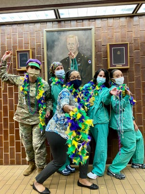 Nurses at Bayne-Jones Army Community Hospital participated in a public service announcement at the Joint Readiness Training Center and Fort Polk on Feb. 11. (From Left:  Col. Jodi Dugai, Maj. Cynthia Styner, April Williams, Lori Cochran and Maj. Markeisha Hubbard)