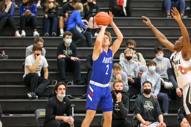 Andover's Jack Johnson (2) attempts a jumper against rival Andover Central on Friday, Feb. 12 at Andover Central HS. The Dallas Baptist commit had 27 points in the 75-59 win.
