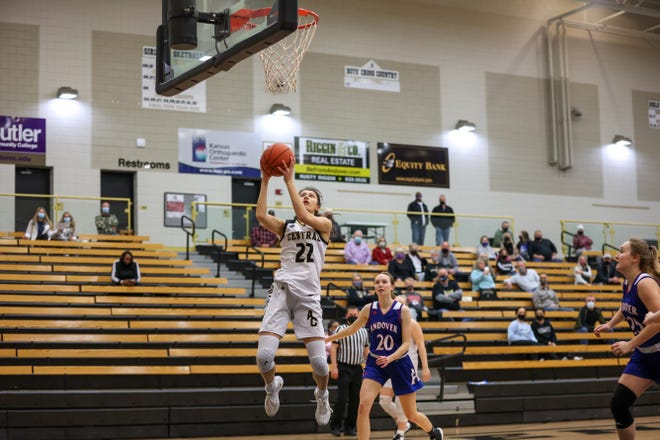 Andover Central junior, Brittany Harshaw (22) goes in for a layup against Andover on Friday, Feb. 12 at Andover Central HS. The Junior finished with 16 points in the win over Andover.