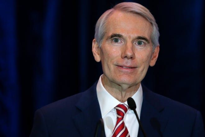U.S. Sen. Rob Portman announced he will not be seeking re-election when his term is up in 2022, Monday, Jan. 25, 2021, at the Hilton Hotel in Cincinnati.