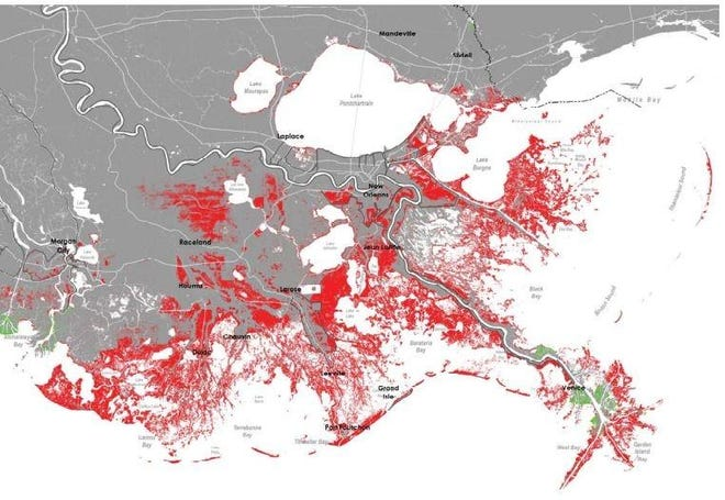 "A map from Louisiana's coastal master plan shows land loss (red) in Terrebonne, Lafourche and across the state's coast that will occur if nothing is done to stop it. The projections are based on a ""medium"" scenario. Others are higher or lower based on estimates of erosion, sinking land and sea-level rise attributed to climate change."
