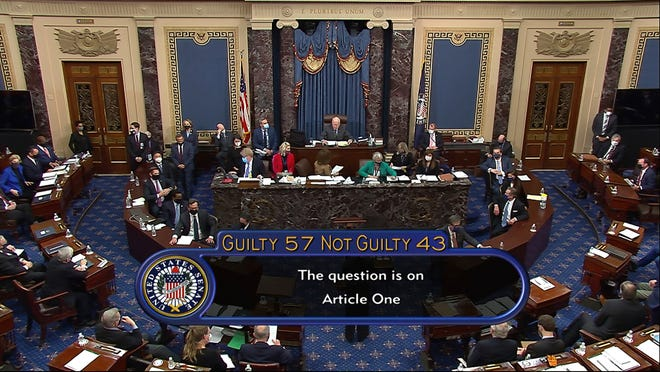 In this image from video, the final vote total of 57 guilty to 43 bot guikty to acquit former President Donald Trump of the impeachment charge incitement of insurrection is displayed Saturday on Senate TV.