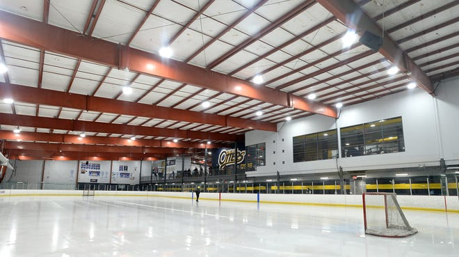 The ice at the ErieBank Sports Park is readied before the start of the Erie Lady Junior Otters game in the 2021 Sarah Backstrom junior girls hockey tournament on Feb. 13, 2021. A group of Ontario Hockey League players, including Otters forward Brendan Hoffmann, organized a showcase event for OHL and other players to take place June 1-13 at ErieBank Sports Park.