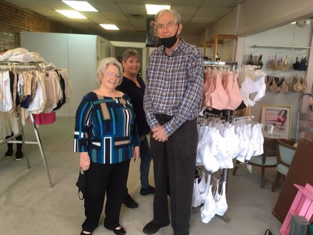 Carol Bryant, her daughter Michelle Salinas and her husband, Larry Bryant, are shown at Bryant's Bloomers Lingerie. After 43-years, the family-owned store at Park and King streets closed permanently on Feb. 13.