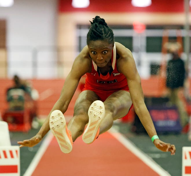 Texas Tech's Ruth Usoro goes into the NCAA indoor track and field championships ranked No. 1 in both the women's long jump and triple jump. The senior from Nigeria is the only woman in the world this year who has achieved the Olympics qualifying standard in both events.