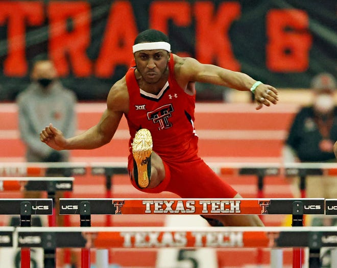 Texas Tech's Maliek Kendall, shown here during an indoor meet in February, advanced to the quarterfinals of the 110-meter hurdles Wednesday at the NCAA West Preliminaries in College Station.