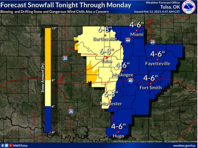 Fort Smith should receive between 4 to 6 inches of snow Sunday through Monday, and possibly on Wednesday. Dangerous wind chills are also expected for the River Valley region by the National Weather Service in Tulsa.