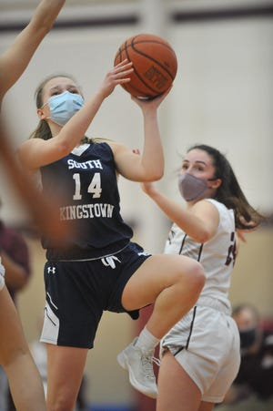 South Kingstown's Jane Carr drives hard to the basket during the second quarter of Saturday's game against La Salle.