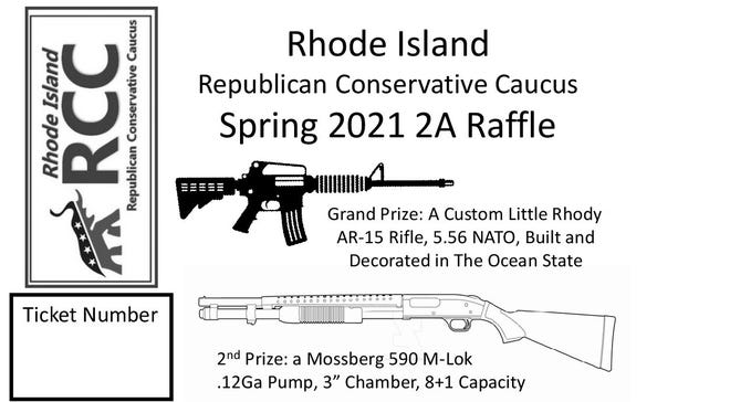 A portion of the ticket for a gun raffle being sponsored by Rhode Island's Republican Conservative Caucus.