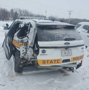 Illinois State Police said this vehicle was damaged during a two-vehicle crash off of Interstate 39 near the Baxter Road exit on Saturday, Feb. 13, 2021.