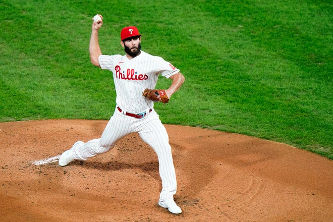 Jake Arrieta pitches for the Philadelphia Phillies against the New York Mets on Sept. 15, 2020, in Philadelphia. Arrieta and the Chicago Cubs have agreed to a one-year contract for the 2021 season.