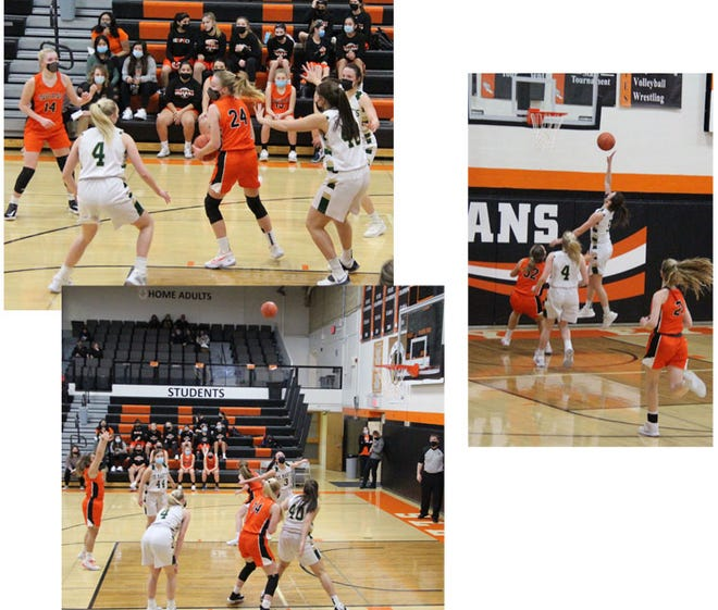 Top left: Kadence Hesse (24) played in her first full game for the Indians since fracturing her tibia during an AAU game in November; Hesse led the Indians with 15 points against the Knights. Right: Knight Madison Mathiowetz went up for two of her 45 points against the Indians Friday night, Feb. 5. Bottom left: Erika Lozano dropped in her second free throw in second half action against the Knights.