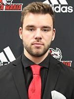 Sam Cyr-Ledoux scores Anna Maria's first goal of the season, in 4-1 loss to Plymouth State on Friday night.