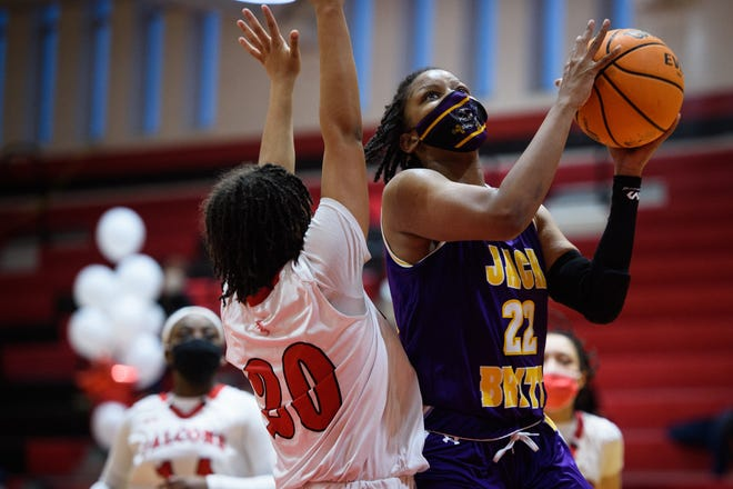 Jack Britt's Ashara Hayes at Seventy-First girls' basketball game on Friday, Feb. 12, 2021.