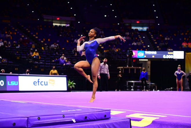 No. 1 Florida's Trinity Thomas records her first Perfect 10 in 2021 and the second in her career on the floor in the win at No. 2 LSU on Friday.