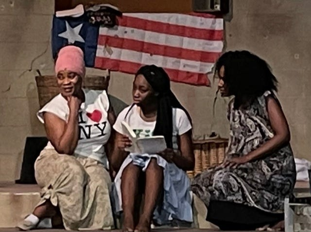 """""""Eclipsed,"""" a play that tells the story of women kidnapped during the second Liberian Civil War in 2003, opens this weekend at the Star Center Theatre. From left are Wendy Mautjana, So'Unique High and Jet Carter. [Submitted photo]"""