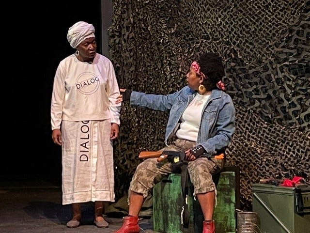 """Toni Dewese, left, and Demetria McBride, right, will be members of the cast of the play """"Eclipse"""" that opens this weekend at the Star Center Theatre. The play tells the story of women kidnapped during the second Liberian Civil War in 2003. [Submitted photo]"""