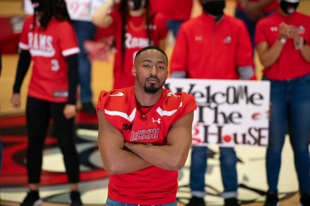 Winston-Salem State quarterback and Eastern Guilford alum Dominique Graves leads festivities at C.E. Gaines Center as part of ESPN's salute to HBCUs.