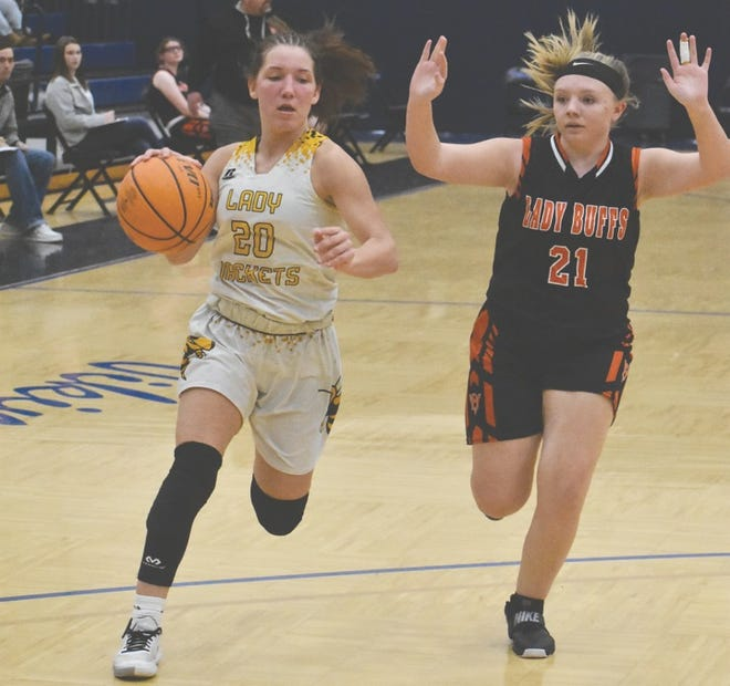 Cameron's Brooke McCormack (with ball) goes down the court in a recent game against Buffalo Valley. On Friday, McCormack set an Oklahoma single-game scoring record with 60 points in a playoff-opening win for the Lady Yellowjackets.