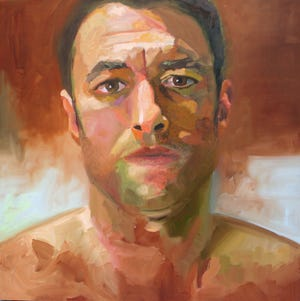 "Tom Grady, Self Portrait at 31, oil on canvas, 18"" x 18""."