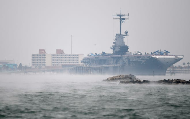 Mist surrounds the USS Lexington ahead of weekend winter weather, Saturday, Feb. 13, 2021. According to the National Weather Service, the winter storm watch is in effect from Feb. 14 until Feb. 15.