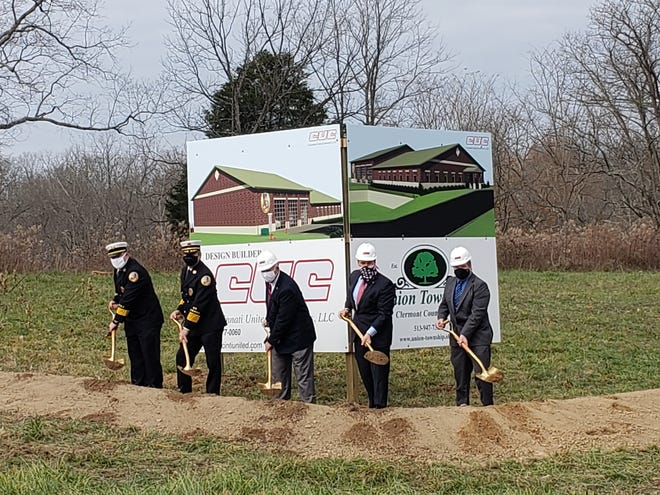 Who are those masked men at a groundbreaking ceremony for a new firehouse in Union Township? From left: Assistant Fire Chief Mark Fyffe, Fire Chief Stanley Deimling and township trustees Robert McGee, Michael Logue and John McGraw.