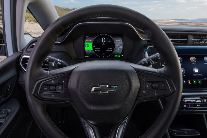 Chevrolet revealed the redesigned 2022 Chevrolet Bolt EV. It goes on sale this summer. Here is an interior view of the redesigned model.