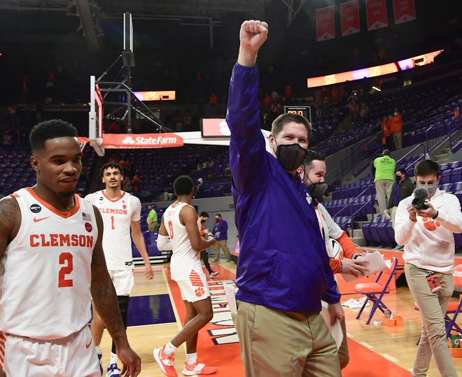 Clemson Head Coach Brad Brownell waves to fans after the Tigers  beat Georgia Tech 74-72  Feb 12, 2021; Clemson, South Carolina, USA;  at Littlejohn Coliseum.