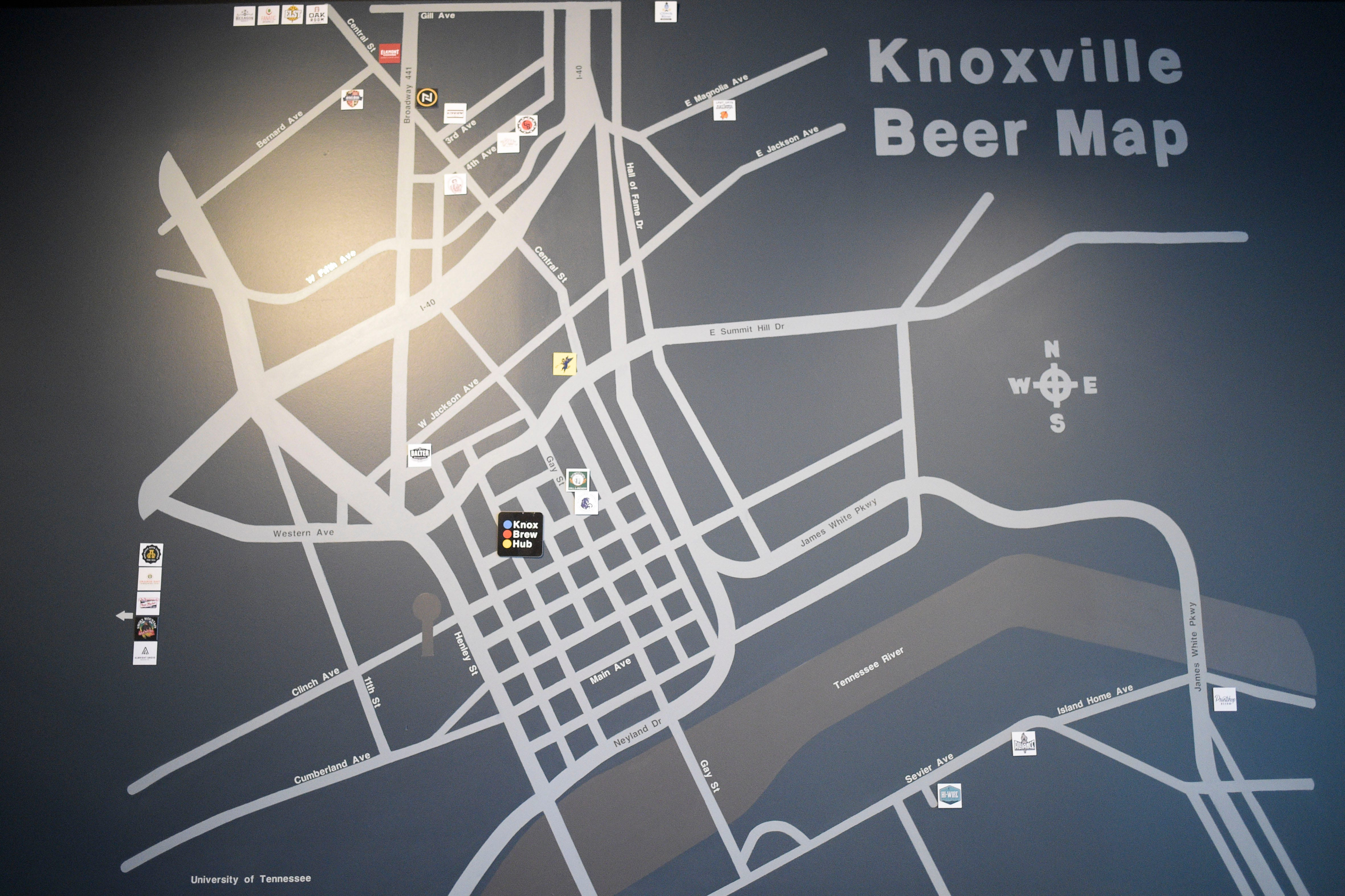 A painting of a Knoxville Beer Map on the wall at Knox Brew Hub in downtown Knoxville, Tenn. on Saturday, Feb. 13, 2021.