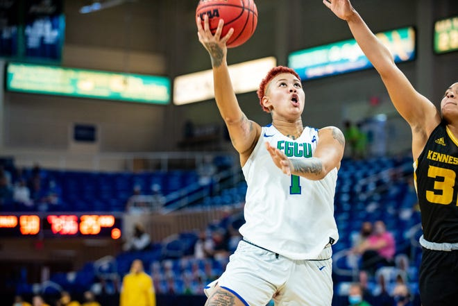Florida Gulf Coast sophomore Kierstan Bell leads the ASUN in scoring and rebounding and is near the top in most other categories.