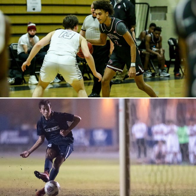 Tate's Jordan Williams (top) and Gulf Breeze's Anthony Ciccarello (bottom) are among this week's nominees for PNJ Athlete of the Week. West Florida girls basketball's Ja'Vina Jackson was also nominated.