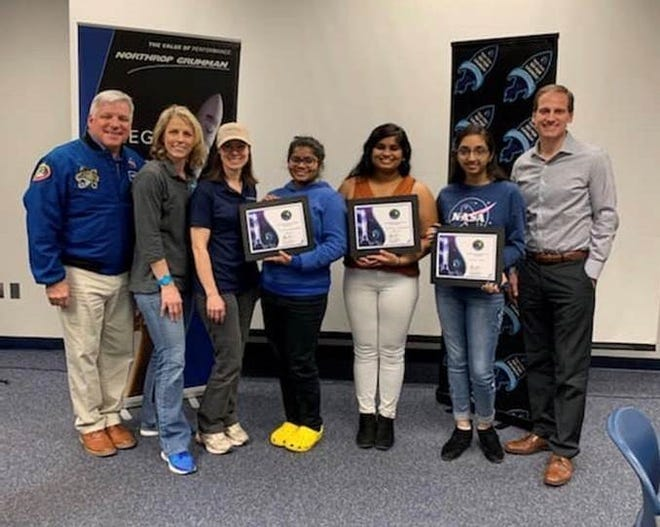 Science winners with Astronaut Greg Johnson, Higher Orbits Founder Michelle Lucas, and Team Lous members.