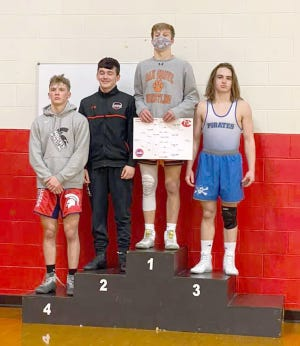 Boonville wrestler Xavier Flippin finished third in the 152 pound weight class Saturday during the district tournament in Chillicothe.