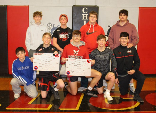 These nine Chillicothe (Mo.) HS Hornets wrestlers, led by district champions Brock Miller (front, center) and Sheldon Rader (front, second from left), qualified Saturday (Feb. 13) for the Feb. 27 Class 2 Sectional 4 Tournament at Excelsior Springs. From left, they are: Front – Lane McCoy (106 pounds), Rader (113), Miller (182), Bryce DOminique (145), Brody Cairns (152); Back – Justin Pyle (132), Gauge Chenet (160), Lucas Reynolds (195), and Wade Horton (220). Each of them finished in the top four at district in Chillicothe, but will need a top-3 finish at sectional to qualify for state.