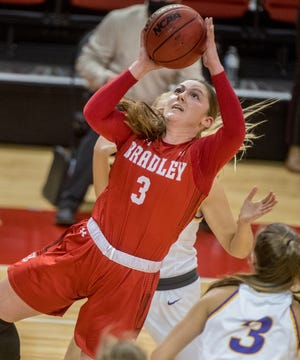 Bradley's Gabi Haack puts up a shot under the basket against Northern Iowa in the second half Saturday, Feb. 13, 2021 at Renaissance Coliseum in Peoria.