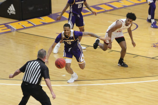 Cameron Burrell chases down a loose ball.