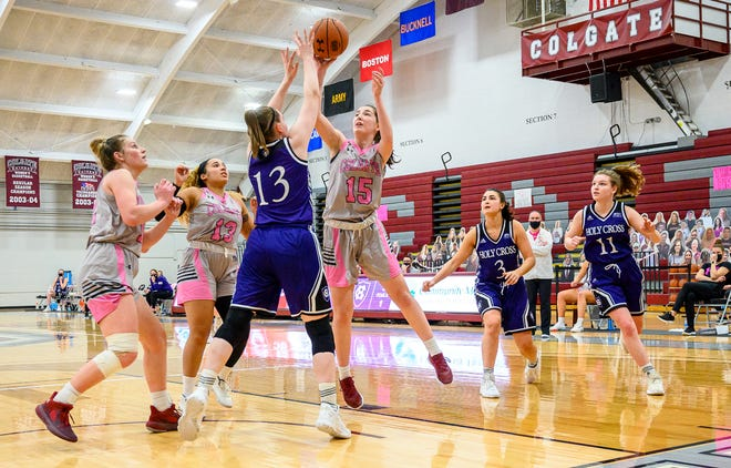Colgate Raiders women's basketball team sophomore guard Maggie Walsh goes up for a shot against Holy Cross Feb. 13 at Cotterell Court in Hamilton.