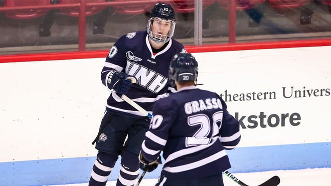 University of New Hampshire junior defenseman Kalle Eriksson had one goal and two assists in Saturday's 5-4 loss to Northeastern at Matthews Arena.