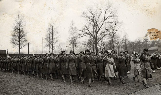 Soldiers of the 6888th Central Postal Battalion, the first black women's unit deployed overseas during the Second World War, pass in review during a 1945 military parade in Birmingham, England. A bill co-sponsored by New Hampshire U.S. Sens. Maggie Hassan and Jeanne Shaheen seeks to honor the Six Triple Eight.