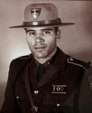 """Henry J. """"Hank"""" Moniz Jr. when he was a trooper with the Rhode Island State Police. On June 20, 1969, he became the first Black person in the state to join the force."""