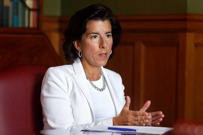 Gov. Gina Raimondo speaks with Journal reporters last August. Several of R.I.'s mayors are calling for her to step down immediately and hand the reins to Lt. Gov. Dan McKee instead of waiting to be confirmed as U.S. commerce secretary.