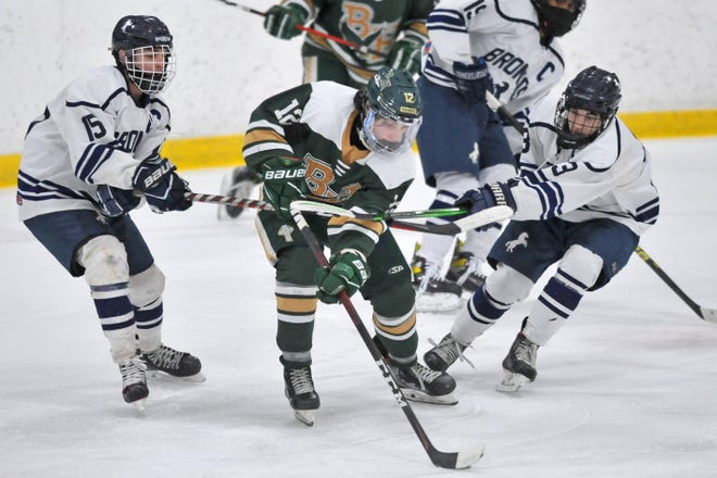 Harrison Giuliano (center) and the Hendricken hockey team host East Greenwich at Thayer Ice Arena in a single-elimination playoff game Tuesday at 8 p.m.
